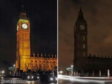 Before and After - Earth hour in London