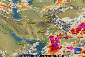 Clouds East of Sindh and south Punjab.