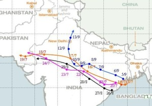 Track of monsoon low pressures in 2009