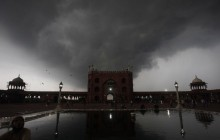 Jama Mosque as monsoon clouds burst over New Delhi
