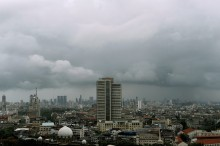 Monsoon clouds shines over the skyline of Bombay