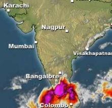 Low pressure near Sri Lanka