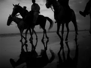 Karachi beach during a monsoon season