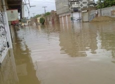 Streets flooded in Shikarpur on September 10 morning