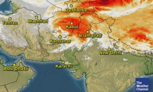 Western system has covered Pakistan, small thunderstorm seen near Karachi.