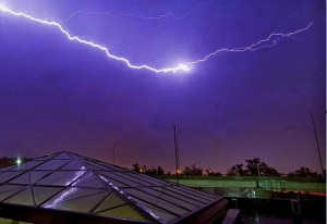 Fierce lightning turns sky purple in Islamabad