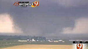 A TV Channel shows the approaching tornado