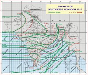 Monsoon advancement as per IMD