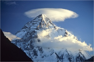 Lenticular cloud over K2 Mountain in Pakistan