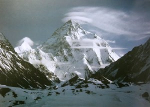 Lenticular clouds over K2 mountain in Pakistan