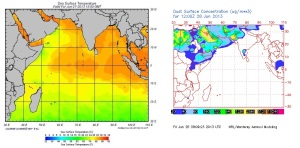 Sea surface temperature - Dust cloud
