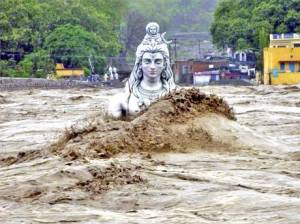 Temple hit by gushing waters