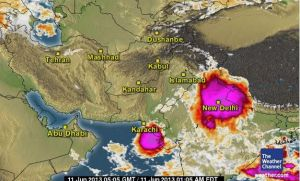 Very large thunderstorm over India on June 11 - Size of bigger than Punjab