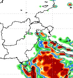Fourth spell - Heavy downpour around 60 mm till 100 mm in North