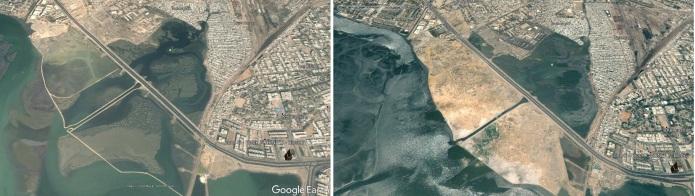 Karachi's Boat Basin in 2000 and 2007. Source: Google Earth